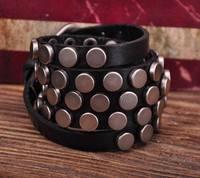 S317 Black Rock R&B Round Studs Multi 5-Wrap Leather Wristband Bracelet Bangle