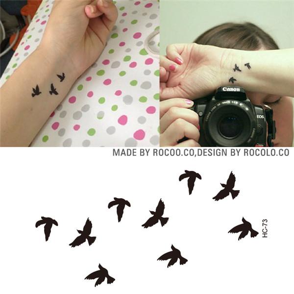 Нс1073 женские сексуальные флэш-тату на запястье дизайн: маленькие парящие птицы водонепроницаемые временные тату-наклейки