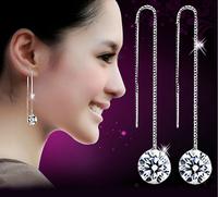 New Arrival High Quality 925 Sterling Silver Long Earrings For Women Luxury Swiss Zircon Drop Earrings Fashion Jewelry