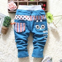 Free shipping 2015 spring new kids leisure trousers wholesale boy's black cat stretch canvas pants BW180