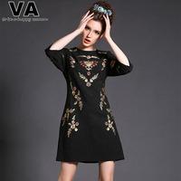 VA Brand High Quality Women Plus size Spring Black Fashion Print Embroidery Mini Office Work Dress Clothing 4XL 5XL P00155