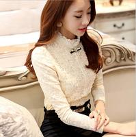 slim women's lace shirts full sleeves Female Blouses Elegance OL shirt Casual Tops blusas de renda  chaquetaT-050 skjorta camisa