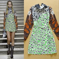 Newest 2015 Spring Fashion Bow Collar Printed Casual Dress Long Sleeve Chic Dress Free Shipping  F16783