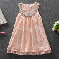 2015 summer new arrival dress for girls pink beading collar lace dresses kids clothes vestido de formatura 5pcs/lot wholesale