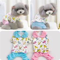 Cute Unisex XS-XL Pet Dog Cat Cartoon Cotton Pajamas Pant Clothes Lapel Apparel Wholesale Free Shipping