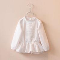 2015 new spring Korea style baby girls lace embroidered O-neck long-sleeve white blouse kids girl elegant boutique dress shirts