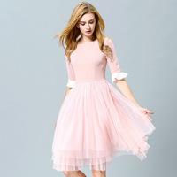 women spring and summer dress 2015 fairy elegant fashion gauze pachwork black pink ruffles plus size xl pullovers dress
