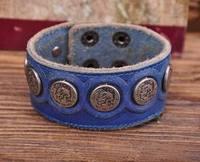 G112 Blue Designer Metal Skull StudsRetro Leather Mens Wristband Bracelet Cuff