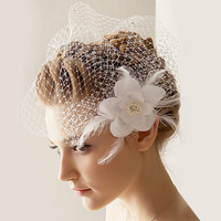 Free Shipping 5Pcs/Lot Hot Sale Lunxry Feather Flower White Bridal Veils Bride Headdress Wedding Face Veils BV-17