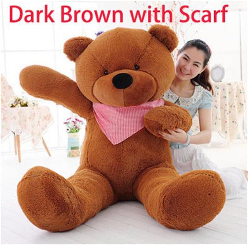 Giant Teddy Bear w Scarf 70' 180cm 1.8m 4kg Stuffed Plush Bear Best Valentine New Year Birthday Gift for Girlfriend(China (Mainland))