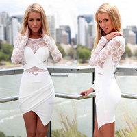 2015 New Fitness Black White Sheath Irregular Long sleeve Lace O-neck Sexy Summer Desigual Vestidos Femininos Party Casual Dress