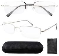 Rectangle Reading Glasses Half Rim Spring Hinges Include Case R1511 +4.50/5.00/5.50/6.00