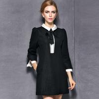 women work wear 2015 vintage fashion woolen black casual dress bow pullovers plus size xl slim one-piece winter dress