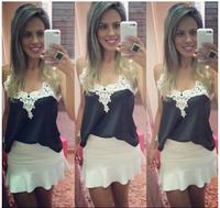 White Lace Blouses Femininas 2014 Women Blusas Lady Patchwork Shirts Sexy Lace Blouse Women Sleeveless Blouse Vest Tops Blusas 1