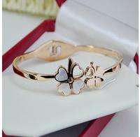 Clover color shell bracelet titanium steel bracelet  60mm rose gold bracelet 1pc