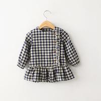 2015 new spring autumn European style girls flower plaid O-neck blouse buttons on side kids girl long-sleeve dress tutu tops