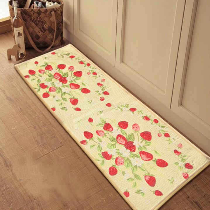 Anti-Slip Kitchen Floor Mats Strawberry Printing Doormat Machine Made 45*60cm/45*115cm Discount Tapetes Door Front Mat Hallway(China (Mainland))