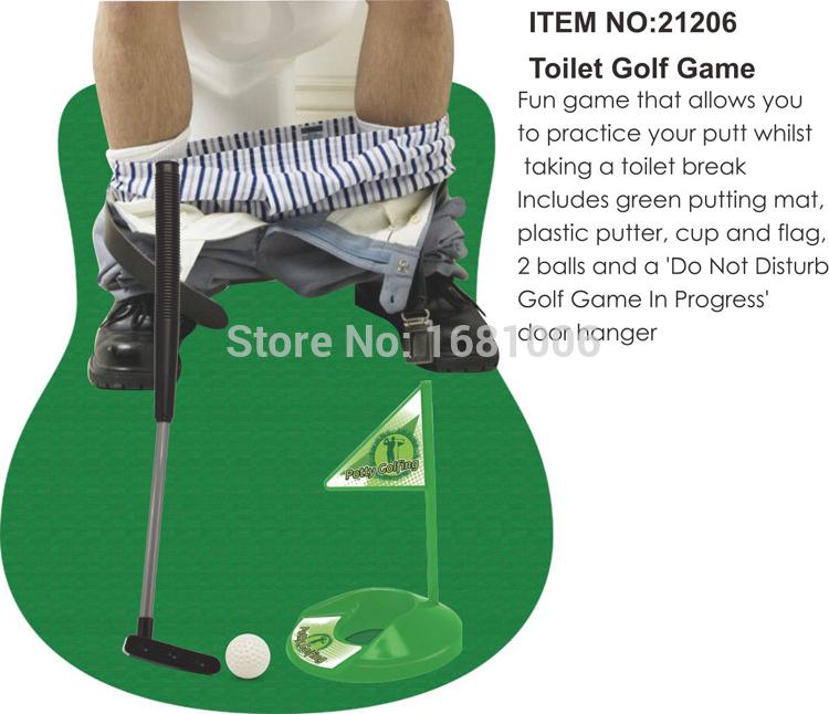 1 Set Potty golfing toys,Toilet Putter Golf Game,Mini Set,72X86.5CM carpet,plastic putter,2 golf ball SE006(China (Mainland))