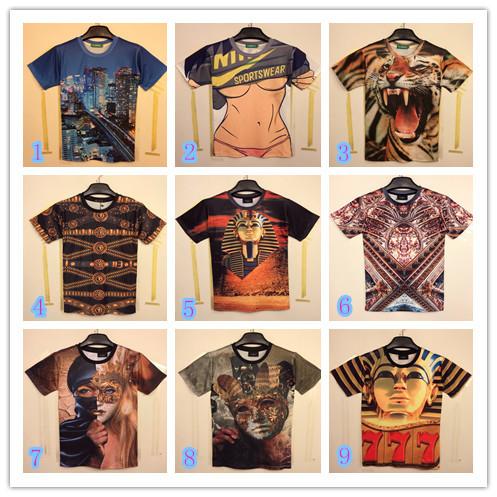 New arrival 3D men t shirt short sleeve t shirt brand 2015 men's fat pharaoh nude beauty trends Korean short-sleeve T-shirt(China (Mainland))