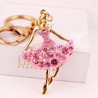 2015 Cute Skirt Dancing Girl Rhinestone Key Chain Ring Fashion Alloy Crystal Keychains Women Bag Charm Car Keys Pendant Gadgets