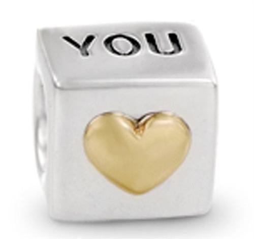 Min order 10 Fit Pandora 925 Fashion Bead Charm You Heart Bead European Silver Bead Fit
