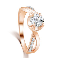 New Design hot Fashion Charm Plating 18K Gold Cross Shiny Crystal Ring jewelry CZ Diamond Engagement Rings for women 2015 M12