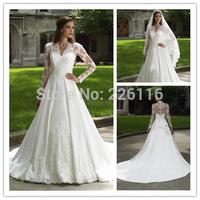 2014 Fashionable Vestido De Noiva 78exquisite White/ivory A-line V-neck Wedding Dress Quality Lace Satin Gown Cl02015_bridalk