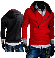 2015 Special Zipper Style Men's Pullovers Hooded With Hat Fashion Casual Hoodies Long Sleeve 6 Color