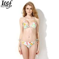 Hot Women's Swimwear Swimsuit Bikini Sets Padded Push Up Triangle Top Ties At Neck Ruched Cups Printed Flowers Beachwear Biquini