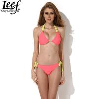 LEEF Solid Color Double Straps Swimsuit Triangle Strappy Bottom Bandage Bikini Set Swimsuit String Micro Brazilian Swimwears