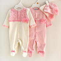 2015 Baby Cloth Lovely Lace Flower Baby Romper with Hat/Cap Infant One-Pieces Romper Spring Newborn Jumpsuit 6pcs/lot