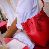 Colourblock bucket genuine leather shoulder bag women handbag tote