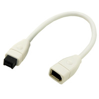 White IEEE 1394 9pin Male to 6pin Female Aapter FireWire 800 to 400 Converter FireWire 9/6 Pin Connector