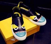 Women peekaboo monster genuine leather shoes loafers