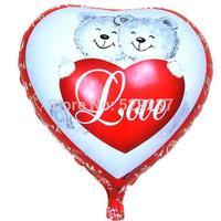 Free Shipping~ 10pcs/lot 18 inch Wholesale Aluminum film balloon Valentine balloon/hearts little bear balloon
