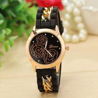 New Fashion Women Geneva Watch Chain Trim Soft Band Watch Rubber Strap Floral Watch Ladies Quarzt Watch