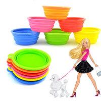 Dog Shop Pet Supplies Pet Dog Fashion Silicone Collapsible Feeding Water Feeder Travel Bowl Dish DB001 Free Shipping&Dr