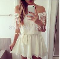 Fashion brief slit neckline decoration lace one-piece dress