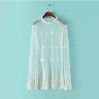 Free shipping 2015 spring summer sexy ladies Hollow Out shirt, white lace style perspective chiffon shirt, fashion sweet tops