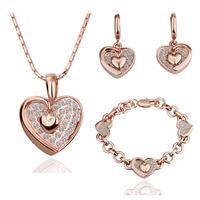 Fashion sparkling diamond elegant double heart earrings necklace bracelet three pieces set