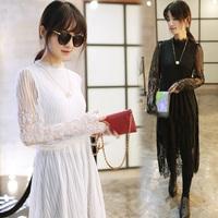 Free shipping 2015 new women dresses ,sexy eyelash lace dress Slim long sections,  black white,