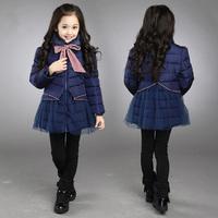 Very thick children girls long duck down jackets outwear for russian winter kids warm outwear fashion jackets coats
