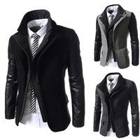 Fashion New Men's fake piece oblique zipper design PU leather stitching sleeves Blazer Stylish Casual men slim Suit jacket