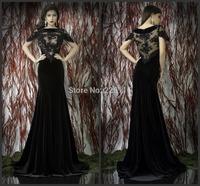 26Custom Made Black Lace bateau Cap Sleeve Mermaid Long Formal evening Dresses Sexy Party Prom Dress Gowns Taffeta Semi sheer La