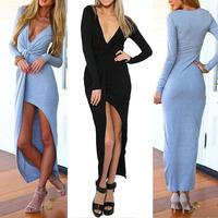 2015 Autumn Sexy Women Deep V Neck Split Front Slim Party Evening Clubwear Slit Knot Maxi Long Sleeved Dress SV05 SV006987