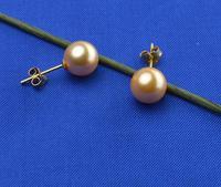 huge AAAA+9.5-10mm  round tahitan Pale gold Pearl earring 14k