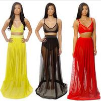 4160 hot new two-piece dress sexy nightclub perspective Bra Dress