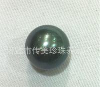 AAA+9-10mm tahitan black Pearl Half-naked bead hole