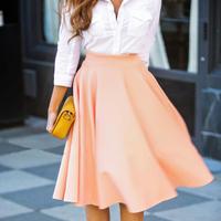 2015 Newest Fashion Women Pink Color Big Umbralla Pleated Skirts High Waist Elegent Skirts
