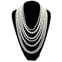 Fashion  Long  Multilayer Pearl Necklace Pendant Women Charm Jewelry Statement  Girl Party Accessories